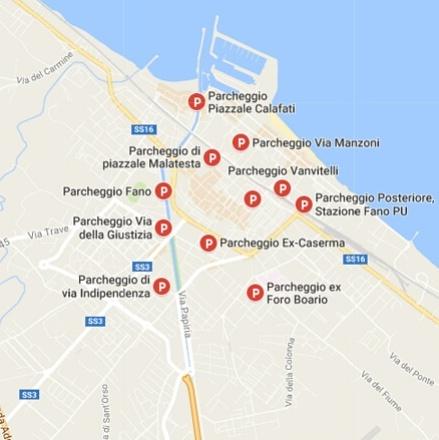 negozi a fano - mappa parcheggi